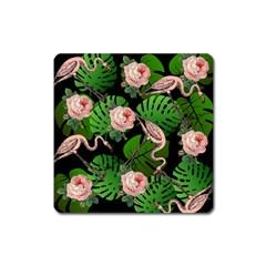 Flamingo Floral Black Square Magnet