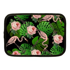 Flamingo Floral Black Netbook Case (medium) by snowwhitegirl