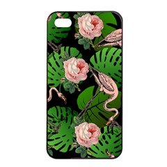 Flamingo Floral Black Apple Iphone 4/4s Seamless Case (black)