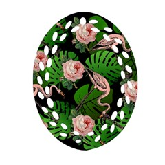 Flamingo Floral Black Oval Filigree Ornament (two Sides) by snowwhitegirl