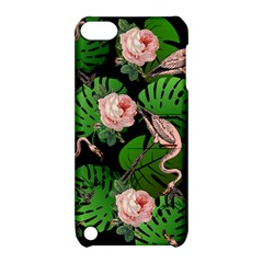 Flamingo Floral Black Apple Ipod Touch 5 Hardshell Case With Stand