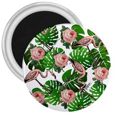 Flamingo Floral White 3  Magnets
