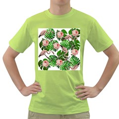 Flamingo Floral White Green T Shirt
