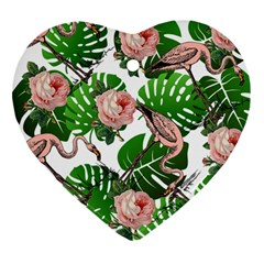 Flamingo Floral White Heart Ornament (two Sides)