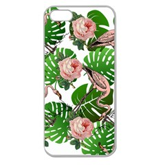 Flamingo Floral White Apple Seamless Iphone 5 Case (clear)