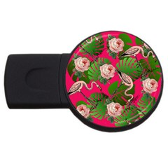 Flamingo Floral Pink Usb Flash Drive Round (4 Gb)