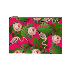 Flamingo Floral Pink Cosmetic Bag (large)