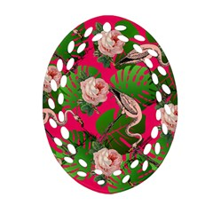 Flamingo Floral Pink Oval Filigree Ornament (two Sides) by snowwhitegirl