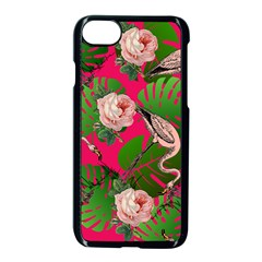 Flamingo Floral Pink Apple Iphone 8 Seamless Case (black) by snowwhitegirl