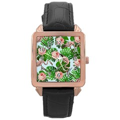 Flamingo Floral Blue Rose Gold Leather Watch