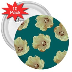 Teal Tulips 3  Buttons (10 Pack)