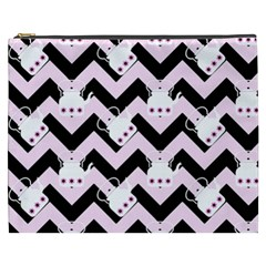 Pink Teapot Chevron Cosmetic Bag (xxxl)