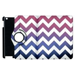 Pink Blue Black Ombre Chevron Apple Ipad 2 Flip 360 Case
