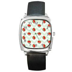 Watermelon Chevron Green Square Metal Watch