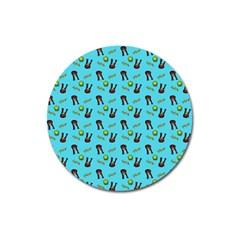 School Girl Pattern Blue Magnet 3  (round)