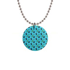 School Girl Pattern Blue Button Necklaces