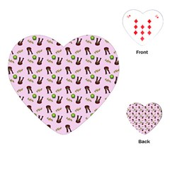 School Girl Pattern Pink Playing Cards (heart)