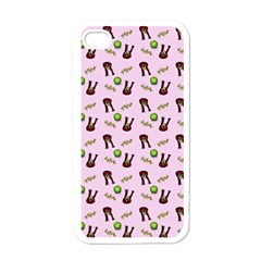 School Girl Pattern Pink Apple Iphone 4 Case (white)