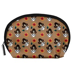 Girl With Dress Beige Accessory Pouch (large)