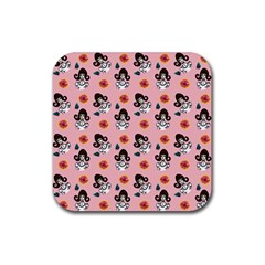 Girl With Dress  Pink Rubber Coaster (square)
