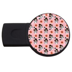 Girl With Dress  Pink Usb Flash Drive Round (2 Gb)