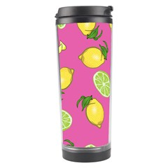 Lemons And Limes Pink Travel Tumbler