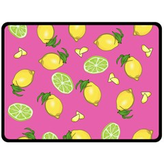 Lemons And Limes Pink Double Sided Fleece Blanket (large)