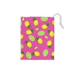 Lemons And Limes Pink Drawstring Pouch (small)