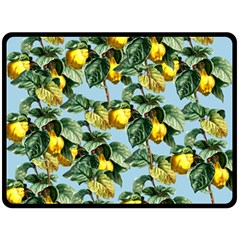 Fruit Branches Blue Double Sided Fleece Blanket (large)