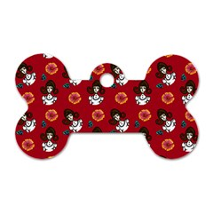 Girl With Dress Red Dog Tag Bone (two Sides)