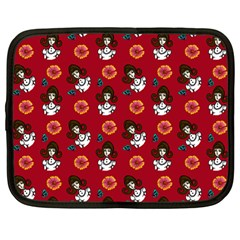 Girl With Dress Red Netbook Case (large)