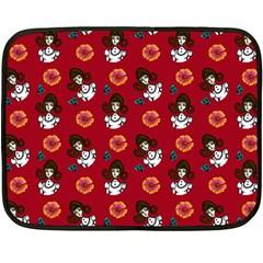 Girl With Dress Red Double Sided Fleece Blanket (mini)
