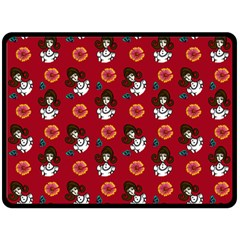 Girl With Dress Red Double Sided Fleece Blanket (large)
