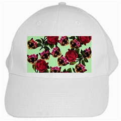 Lazy Cat Floral Pattern Green White Cap