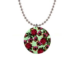Lazy Cat Floral Pattern Green Button Necklaces