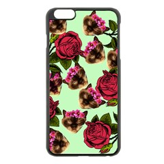 Lazy Cat Floral Pattern Green Apple Iphone 6 Plus/6s Plus Black Enamel Case by snowwhitegirl