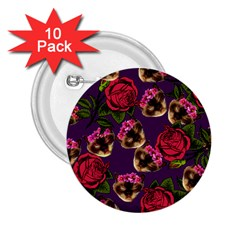 Lazy Cat Floral Pattern Purple 2 25  Buttons (10 Pack)
