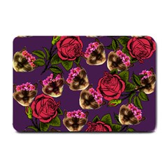 Lazy Cat Floral Pattern Purple Small Doormat