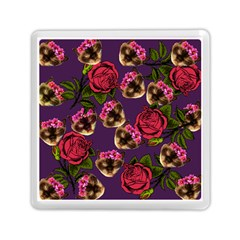 Lazy Cat Floral Pattern Purple Memory Card Reader (square)