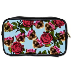 Lazy Cat Floral Pattern Blue Toiletries Bag (one Side)