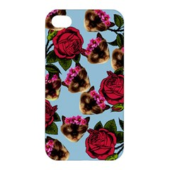 Lazy Cat Floral Pattern Blue Apple Iphone 4/4s Premium Hardshell Case