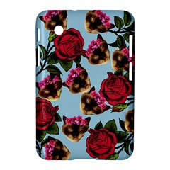 Lazy Cat Floral Pattern Blue Samsung Galaxy Tab 2 (7 ) P3100 Hardshell Case