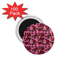 Lazy Cat Floral Pattern Pink Polka 1 75  Magnets (100 Pack)