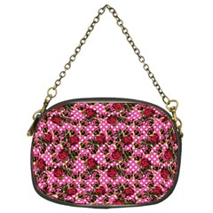 Lazy Cat Floral Pattern Pink Polka Chain Purse (two Sides)