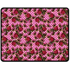 Lazy Cat Floral Pattern Pink Polka Fleece Blanket (medium)