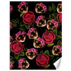 Lazy Cat Floral Pattern Black Canvas 36  X 48