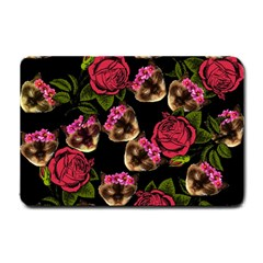 Lazy Cat Floral Pattern Black Small Doormat