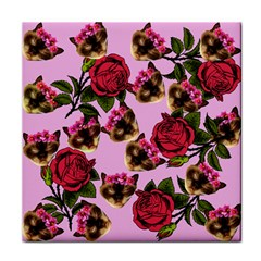 Lazy Cat Floral Pattern Pink Tile Coasters by snowwhitegirl