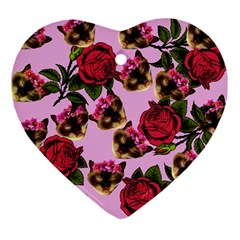Lazy Cat Floral Pattern Pink Ornament (heart)