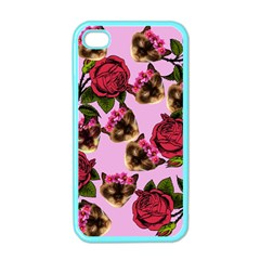 Lazy Cat Floral Pattern Pink Apple Iphone 4 Case (color)